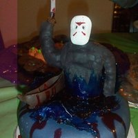 "Friday The 13Th Jason Voorhees coming out of the ""water""! LOL, this is my favorite cake because I grew up watching him. The ""water"" was..."