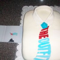 "Shirt And Tie Cake This was a surprise for a friend's birthday. It is sitting next to his cd cover. The ""Flag"" in his cd covered just so..."
