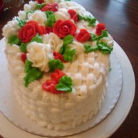 Flower Cake Basket weave with flowers