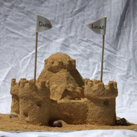 Sandcastle Graham Cracker Sand - getting it to stick consistently was not the easiest thing in the world...