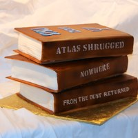 Books Graduation Cake 2 layers of tiramisu and one book is lemon rasberry.
