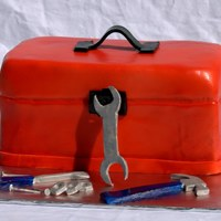 Toolbox And Tools Chocolate cake with chocolate buttercream. Gumpaste tools
