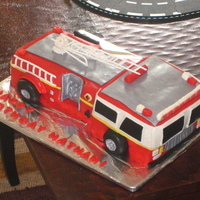 Fire Truck Cake FIre truck cake for a 4th birthday--chocolate/chocolate, MMF, gum paste ladder.