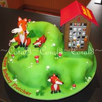 Foxy  Chocolate mud cake with ganache & fondant. Foxes made out of fondant with gum tragacanth added, chicken house made out of mexican paste...