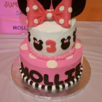 Minnie Mouse This was inspired by another CC post (can't remember the name). Top tier covered in BC with MMF accents. White cake with chocolate...