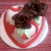 "Cake For 2 4"" strawberry cake covered in MMF, mmf accents and chocolate roses"