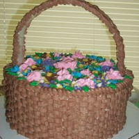 "Basket Of Flowers This basket of flowers was made ut of 10"" rounds, decorated with BC. The handle is a piece of foam core board, wrapped in contact..."