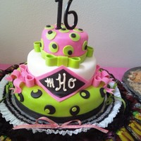 Sweet 16 Birthday Cake Lime Green, Pink and Black 16 cake for my daughter Hailey.