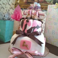 Pink Camo John Deere Boots Baby Shower Cake Pink camo, white and John Deere boots all made from fondant