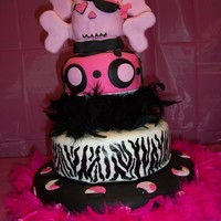 Hot Pink & Black Skull Cake Hot Pink & Black Skull Cake out of fondant