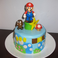Mario Birthday Cake Chocolate cake with mint butter-cream filling, covered in fondant. Decorations are fondant except for plastic Mario. Made it for my husband...