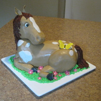 Horse Cake Sturdy yellow cake with chocolate BC filling, head made of RKT; covered in fondant, and the butterfly and ears are gum-paste. First time...