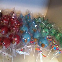 Angry Birds Cake Pops Chocolate covered with fondant details.