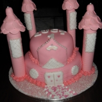 Pink Princess Castle Cake i loved working on this cake. turrets are gum paste. The wee girls mum was delighted. My only regret was that I was not allowed to use...