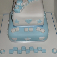 Train Christening Cake Madeira sponge covered in fondant with fondant accents and wee fondant train!!!