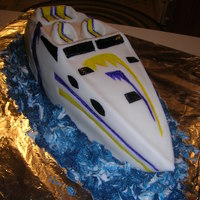 Boat Cake 3D Carved Boat (Confetti Cake) with Fondant covering and Buttercream filling