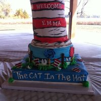 "Dr. Seuss Baby Shower 12"" chocolate, 10"" Yellow and 5 layers (3 white, 2 chocolate) with buttercream and MMF. White Chocolate The Cat in The Hat..."