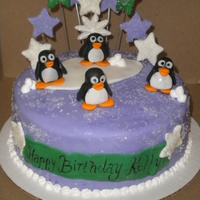 Purple Penguin Cake
