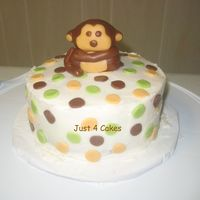 Monkey Cake Made this small cake for my friend since I cant make her baby shower. The cake resembles her baby's bedroom. Monkey is made of fondant...