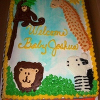 Safari Baby Shower all butter cream...first attempt at buttercream transfer..end result was okay..