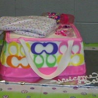 Coach Baby Bag 3 1/4 sheets stacked and carved..butter cream with fondant accentsActual baby items