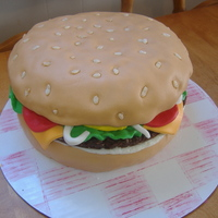 Burger Or Cake??? My daughter and I made this cake for her dad's 50th birthday.