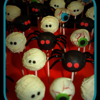 Halloween Cake Pops Cake Pops I made for a friend, red velvet inside of course.