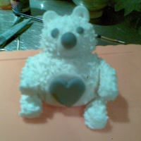 Teddy my first attempt at making a cake topper its made from royalty soft white icing and is completely edable