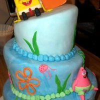 Whimsical Spongebob   Fondant covered with fondant figurines and accents.