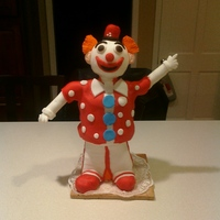 Sculpted Clown Cake Pound cake with buttercream and fondant. Rice Krispie treats for legs and head.