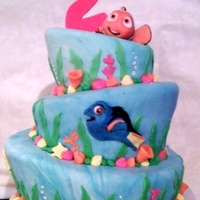 Nemo Cake   Whimsical sea cake with fondant figurines and accents.