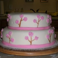 Flower Tree Cake Fondant covered cake. The flowers are actually piped butter cream allowed to dry.