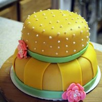 Vintage Cake Covered in fondant. Edible pearls added.