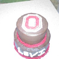 Ohio State Cake Buttercream icing with fondant accents