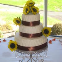 Quitled Wedding Cake Chocolate cake with BC filling and covered in fondant. Quilted detail with edible pearls. Satin ribbon around base. 3 cakes per tier. Fresh...