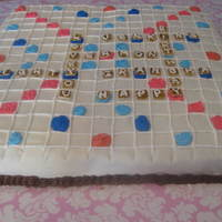 Scrabble Cake For My Grandma's 80Th Birthday! 4 8x8 squares. chocolate and reg. BC icing. covered in fondant