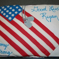 Army Strong Cake made for co-worker whose son had enlisted in the Army for his going away party. 1/2 sheet (1/2 choc, 1/2 yellow) with buttercream....