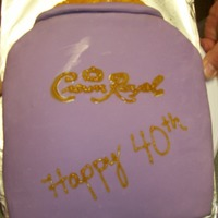 Crown Royal Cake Birthday Cake for brothers 40th bday, fave drink is Crown, thus the cake. Cake is yellow cake as he hates chocolate, with buttercream, bag...