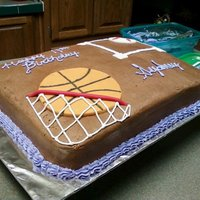 Basketball/softball Cake Had a request for an all chocolate cake with chocolate buttercream icing. The birthday girl requested a basketball in one corner and a...