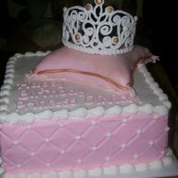 Princess Cake Fondant covered pillow with royal icing tiara.