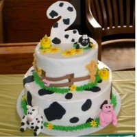 Barnyard Buttercream on white cake, fondant animals.