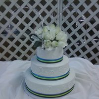 Round Wedding   Buttercream with layered ribbon.