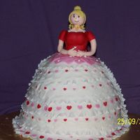 100_3915.jpg  this was my daughters bday cake it was a large dolly varden tin choc muc cake and butter cream icing covered in RTR icing and all...
