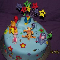 Pooh Bear  9inch choc mud cake with choc ganache and covered in RTR (fondant) decorated with all fondant handmade decorations made for a mate who said...