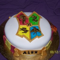 Harry Potter Crest 9inch choc mud cake with choc ganche covered in RTR icing ( fondant ) and fondant decorations crest figures are liquorice covered in gold...