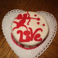 "Valentine's Mini   3.5"" mini white cake with lavender buttercream. Cutouts with MTC+Cricut"