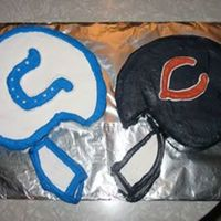 Super Bowl '06 Bears v. Colts cake. The icing from the Bears helmet made everyone's teeth turn dark blue...beware of the results of black & dark...