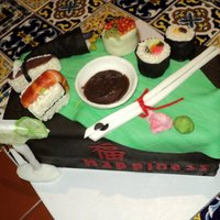 Sushi  Sushi themed with Chinese characters for Hapiness, Balance, Harmony, Enlightment and Love; a 21st b-day celebration. White cake with...