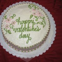 Valentine's Day Cake A simple message & decoration...trying out the moss green color gel, plus pink...