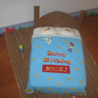 Toy Story Bed Yellow cake w/ mmf. Had the hardest time with the footboad so I axed it. :(